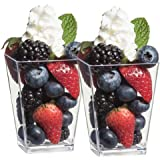 Zappy Square 5 oz Parfait Dessert Cup Shot Glasses Trifle Bowl Clear Plastic Souffle Mousse Party Cube Cups 20 Per Pack
