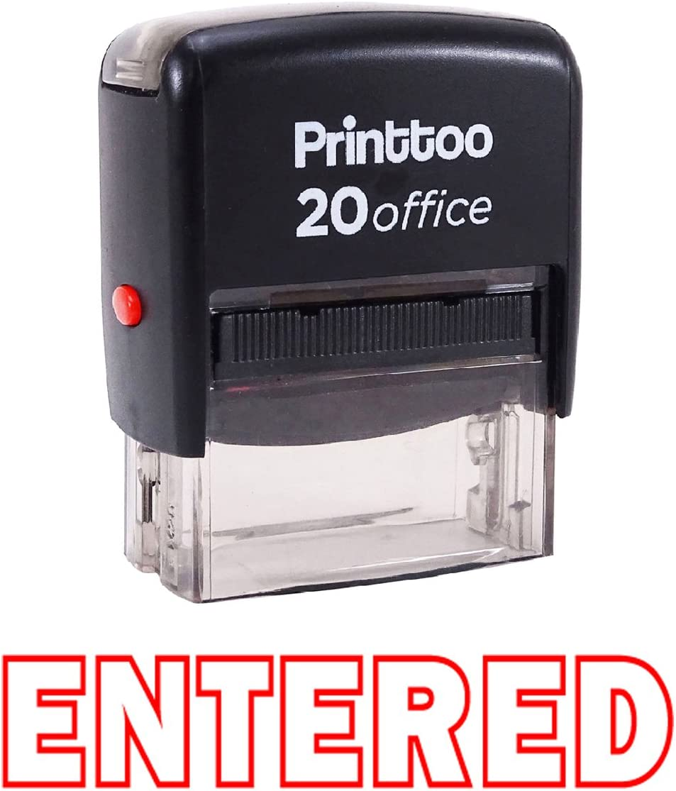 Printtoo Entered Self Inking Rubber Stamp Office Stationary Custom Stamp-Blue