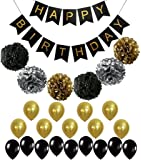 BLACK and GOLD PARTY DECORATIONS - Perfect Adult Birthday Decorations   Happy Birthday Banner   Black,Gold Balloons and Paper Pom Poms   Party Supplies for 30th, 40th, 50th, 60th Birthday Decoration