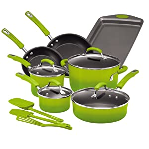 Rachael Ray Hard Porcelain Enamel Nonstick Cookware Set, 14-Piece, Green Gradient