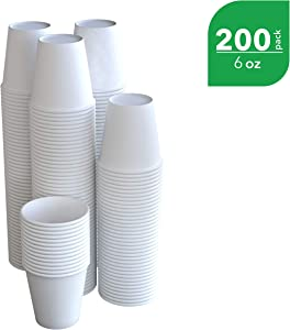 The FORKED | 200-Pack | 6 oz White Paper Disposable Cups | Hot And Cold Beverage Drinking Cup for Water, Juice, Coffee or Tea – Ideal for Water Coolers, Party, or Coffee On the Go'