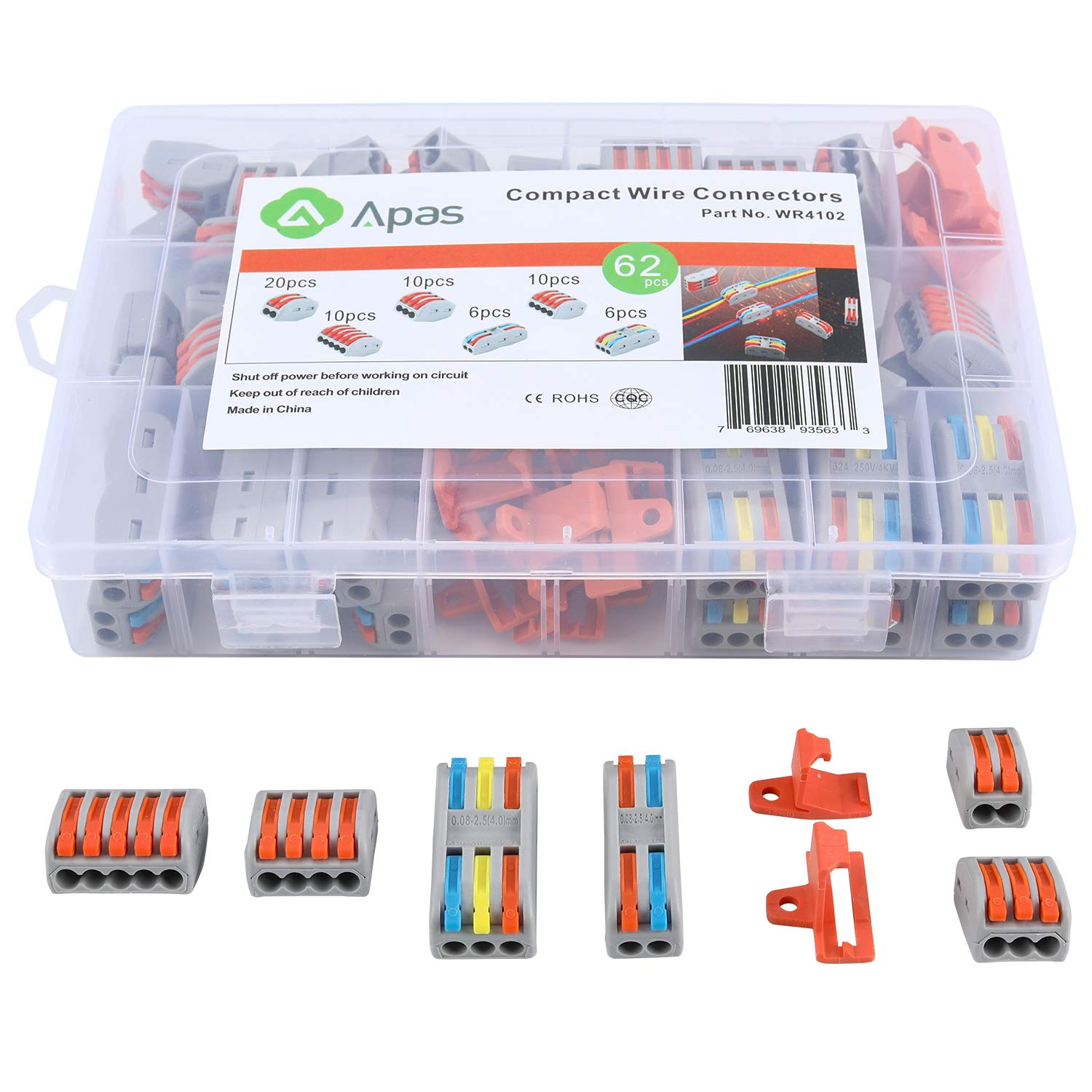 Pack of 62 Conductor Compact Splicing Connectors,Lever Nut Kit for Electrical Wires Solid Stranded Flexible Wires Wire Connect Lever-Nut