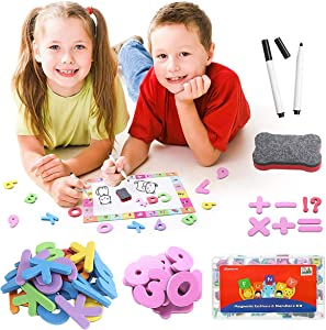 GEMWON Alphabet Magnets Toys - 199 Pcs Magnetic Letters and Numbers Kit with Whiteboard & Storage Box for Kids ABC Learning, Premium Classroom Educational Supplies
