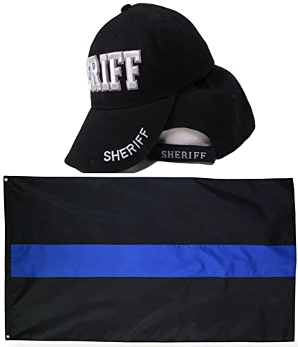9024c35d Sheriff Law Enforcement Police Badge Shadow Embroidered Hat Cap & Thin Blue  Line Flag 3x5 Super