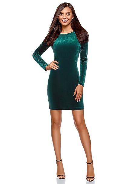 oodji Ultra Mujer Vestido de Terciopelo con Escote en V en la Espalda, Verde,