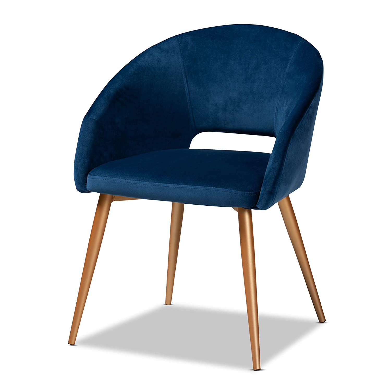 Baxton Studio Dining Chairs, Navy Blue/Gold