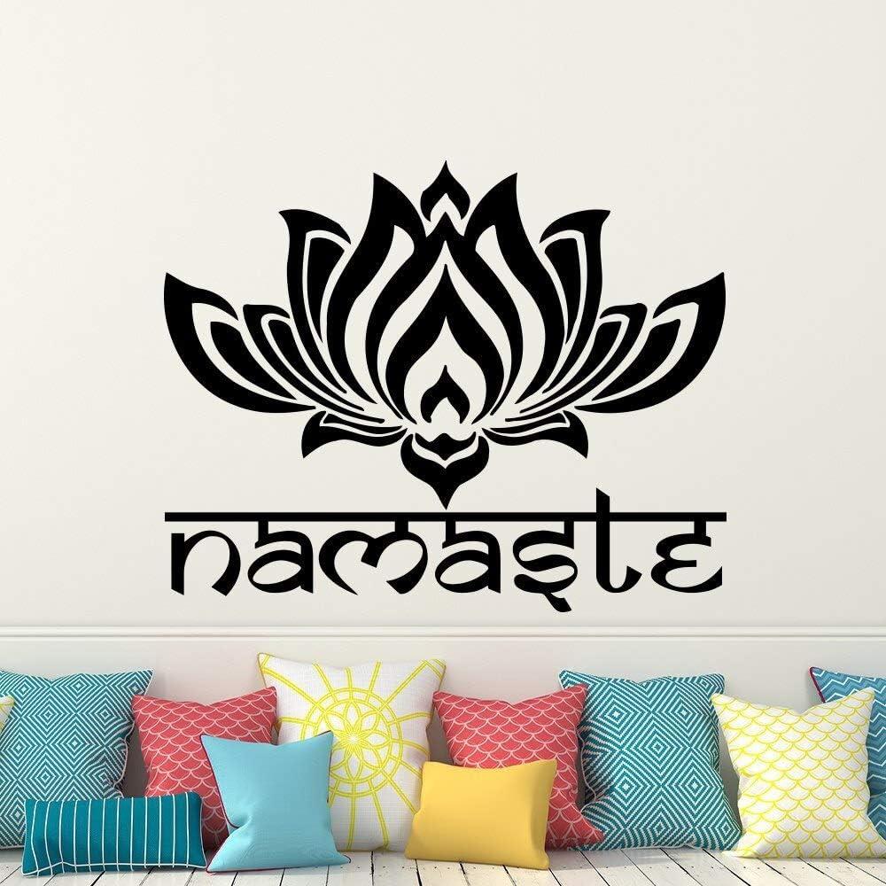 supmsds Louts Flower Wall Sticker Yoga Namaste Tatuajes de Pared Decoración para el hogar Sala de Estar Dormitorio Yoga Studio Wall Art Vinilo Wallpaper42X55CM: Amazon.es: Hogar