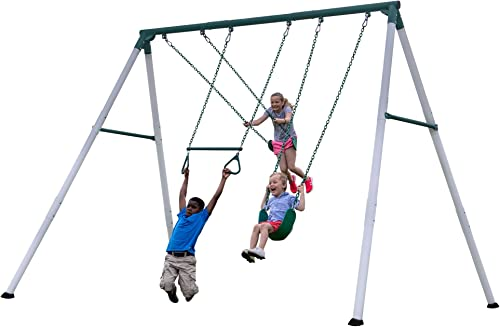 Backyard Discovery Big Brutus Heavy Duty Metal Swing Set, White Green