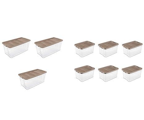 Amazon com - Sterilite, 200 Qt /189 L Stacker Box, Taupe