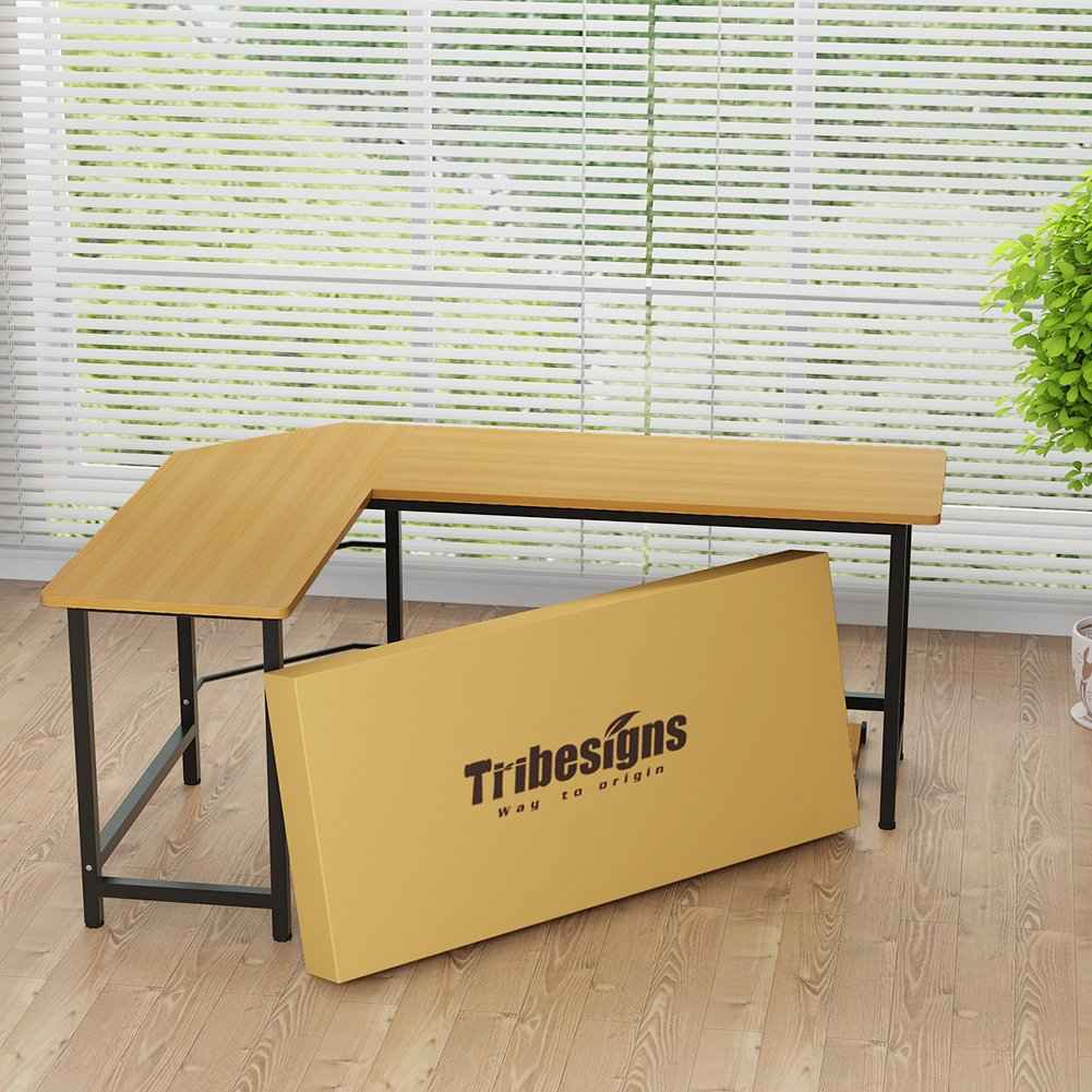 Tribesigns Modern L-Shaped Desk Corner Computer Desk PC Latop Study Table Workstation Home Office Wood & Metal (Light Walnut Brown) by Tribesigns