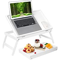 Bed Tray Table Breakfast Tray with Folding Legs Kitchen Food Serving Tray for Notebook Computer Bed Platters Lap Desk…