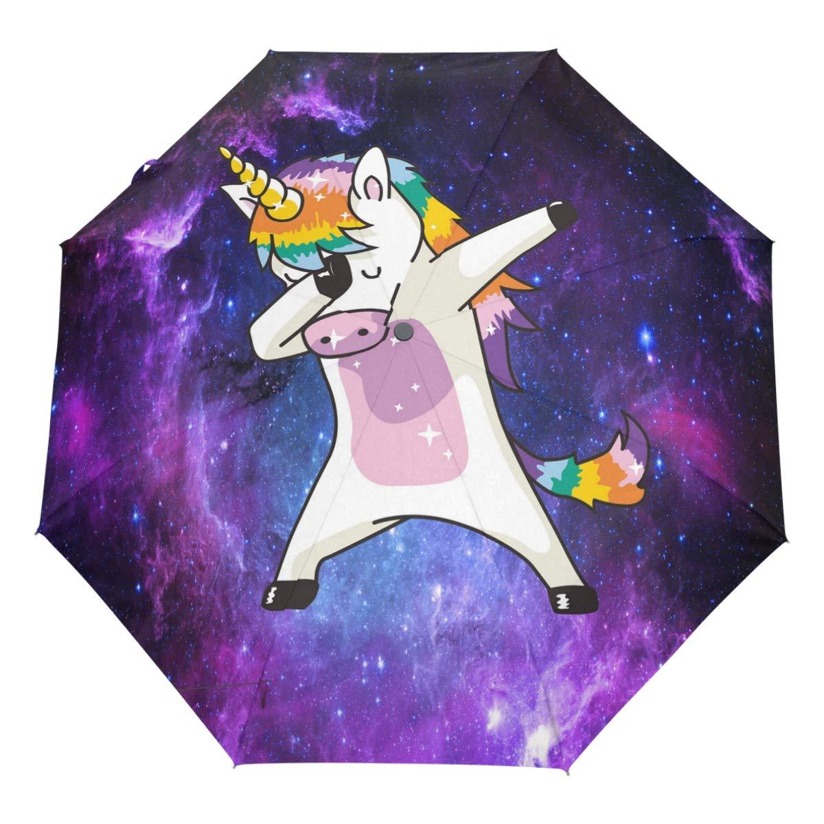 Wamika Funny Unicorn Auto Umbrella Open Close Windproof Travel Lightweight Parasol Umbrella Sun Rain