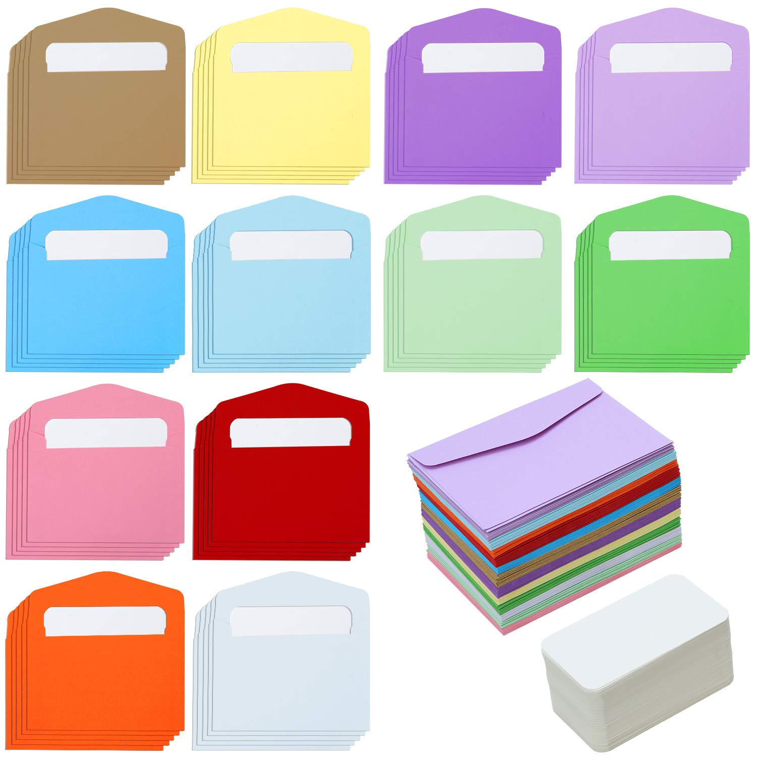 Elcoho 120 Pack Mini Envelopes with 120 Pieces White Blank Business Cards Colorful Mini Envelopes Pocket Gift Card for Christmas, Thanksgiving, Wedding, Birthday Party Supplies (Mixed Colour)