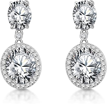 Womens Sterling Silver Round Cubic Zirconia CZ Diamond Rhinestone Long Chain Dangle Earrings Bridal Drop Earrings for Wedding Bride Bridesmaids Crystal Linear Drop Earrings