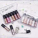 Emirde 12 Colors Glitter Liquid Eyeshadow, Pearl Glitter Shimmer Liquid Eyeshadow Eyeliner, Waterproof Long Lasting Liquid Ey