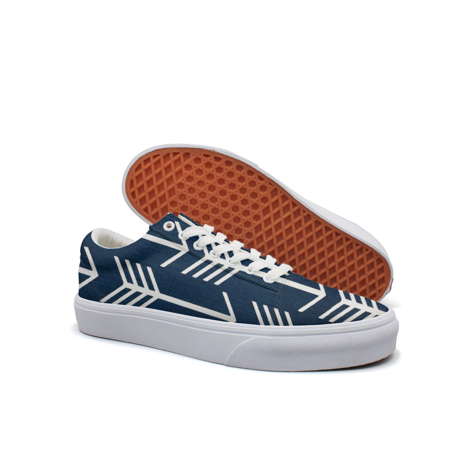 Print Trendy Navy Arrow Low Top Canvas Sneakers by VCERTHDF