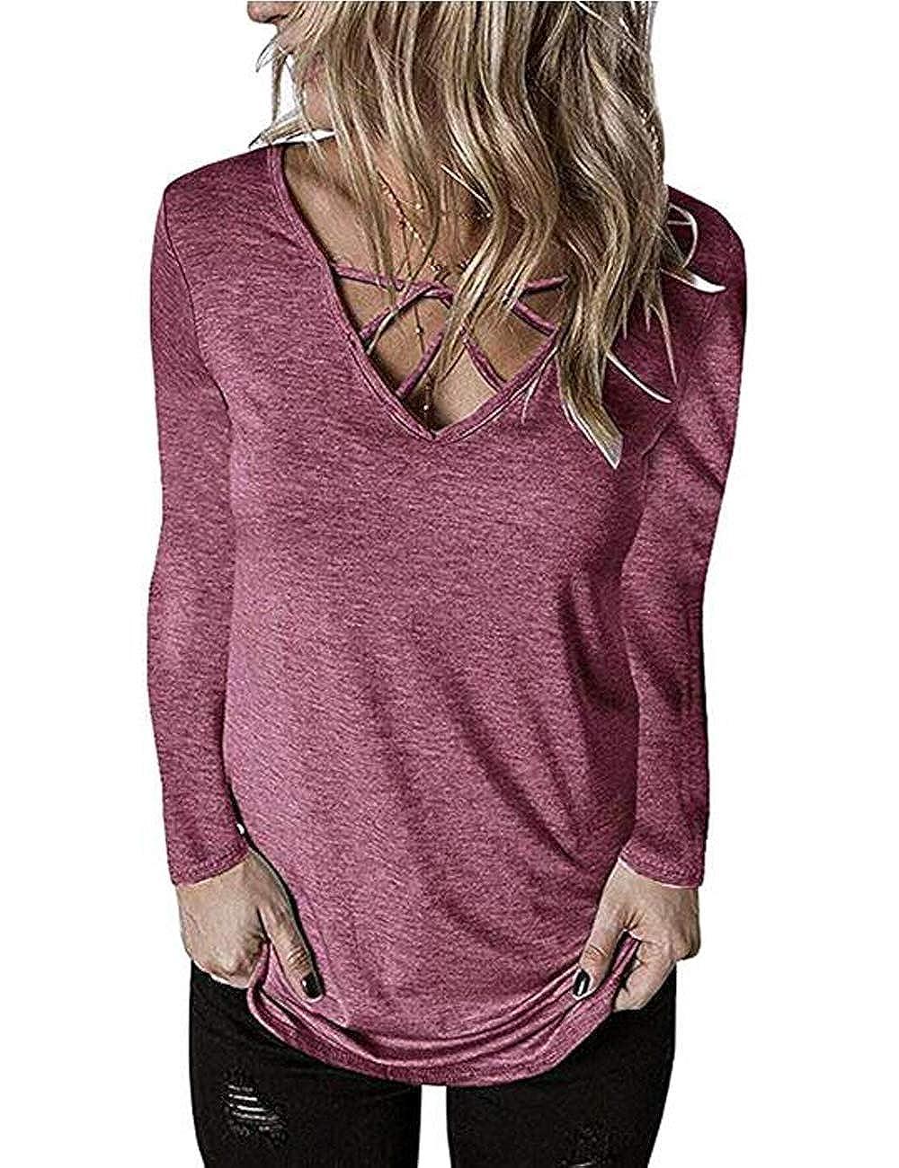 Halife Womens Casual V Neck T-Shirt Criss Cross Long Sleeve Tunic Top Blouses