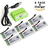 6 Pcs of Keenstone 3.7V 500mAh 25C LiPO Battery w/6-Port Battery Charger for Hubsan X4 H107 H107C H107D H108 H107L V252 JXD385,Holy Stone F180C,UDI U816A, JJRC H6C,Mini CP,Genius CP