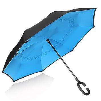 Bagail - Paraguas de doble capa, diseño invertido, reversible, con protecció