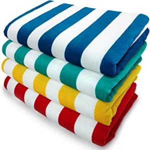 Kaufman – Cabana Striped Printed Beach/Pool/Bath Towel, 30in x 60in, Quick Dry, Soft, Plush, Absorbent and Lightweight 100% Cotton