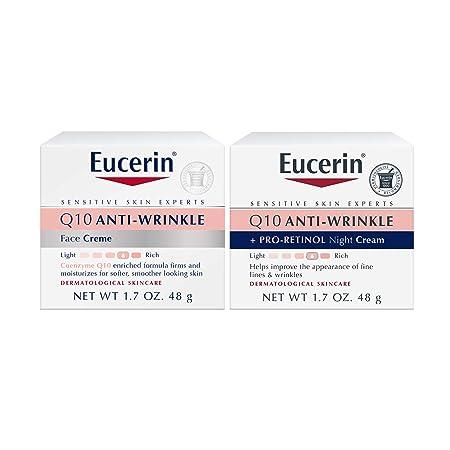 Eucerin Q10 Anti Wrinkle Day Face Cream + Night Cream   1.7 Oz (2 Pack)