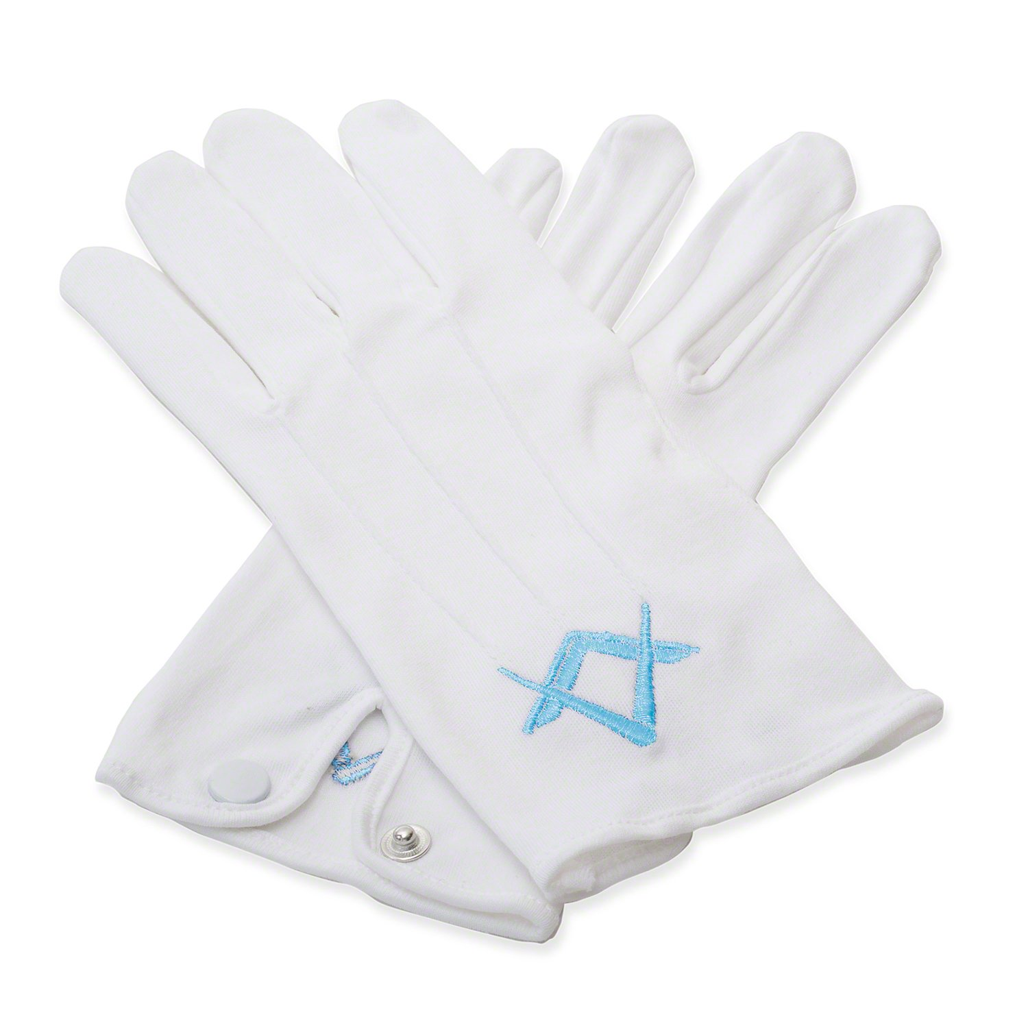 Craft White 100% Cotton Gloves with Craft Blue Sq & Compass - Large Masonic