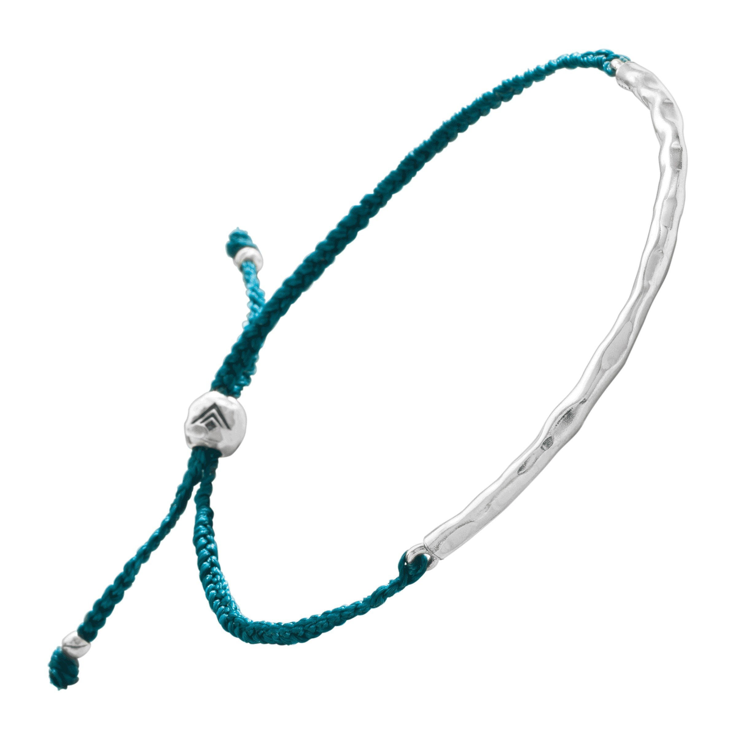 Silpada 'Bright and Braided' Teal Macramé Adjustable Bangle Bracelet in Sterling Silver, 8.75''