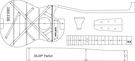 amazon com parlor cutaway 2025 acoustic guitar layout template