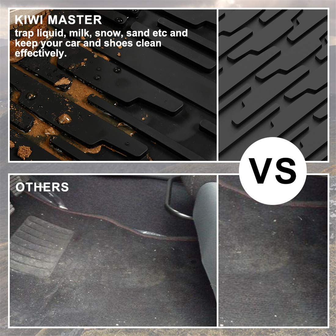 KIWI MASTER Floor Mats & Cargo Liners Set Compatible for 2013-2015 Jeep Grand Cherokee Front & Rear Black Floor Cargo Mat All Weather Protection Slush Mats by KIWI MASTER (Image #4)