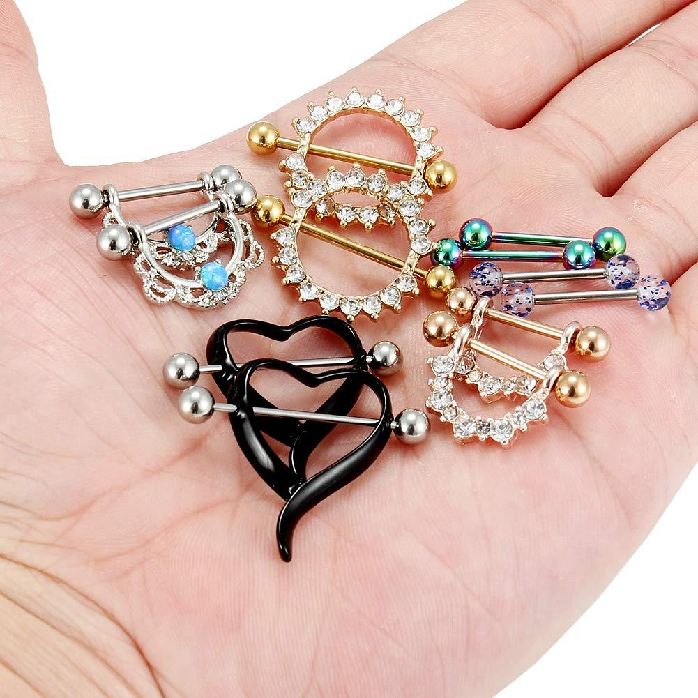 Kridzisw 14G Nipple Tongue Rings 6 Pairs Surgical Steel Nipple Nipplerings Shield Ring Barbell Bar Piercing Body Jewelry CZ Round Shape for Women Girls
