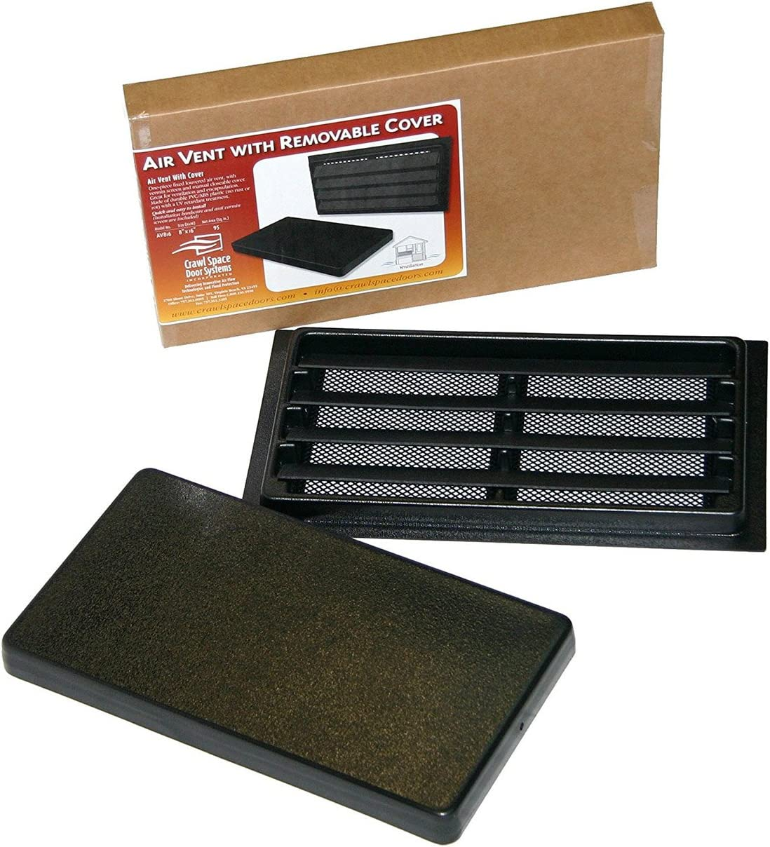 """Manual Crawl Space Vent with Removable Cover and Vermin Screen (8"""" Height x16"""" Width)"""