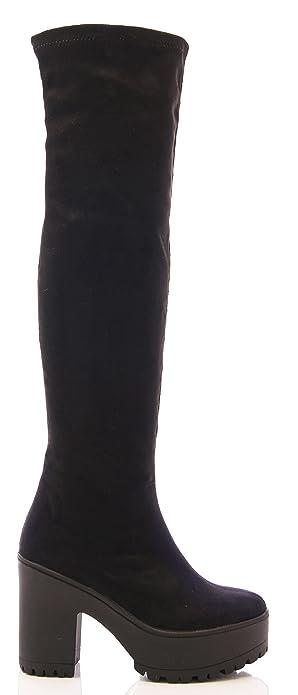 Ladies Womens Rodilla Alta Plataforma Botas Zapatos de tacón Grueso elástico tamaño, Color Negro,