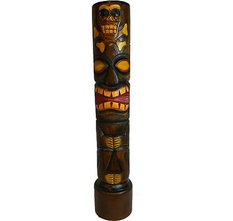Amazon Com Item Cracks In Finish Hand Carved Wood 3 Ft Skull Skeleton Cross Bone Tiki Totem Pole Statue Industrial Scientific
