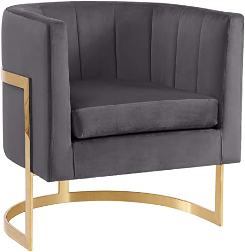 Meridian Furniture Carter Collection Modern Contemporary Upholstered Velvet Barrel Accent Chair with Gold Stainless Base, Grey, 29 W x 27.5 D x 31 H