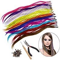 HQdeal Haarverlengingsset, met 52 synthetische veren, 100 parels, tang en haakjes
