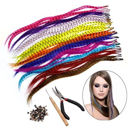 code promo meilleur meilleure sélection de 2019 Kit d'extension de cheveux HQdeal Feather avec 52 plumes synthétiques, 100  perles, pinces et crochets (couleurs mixtes)
