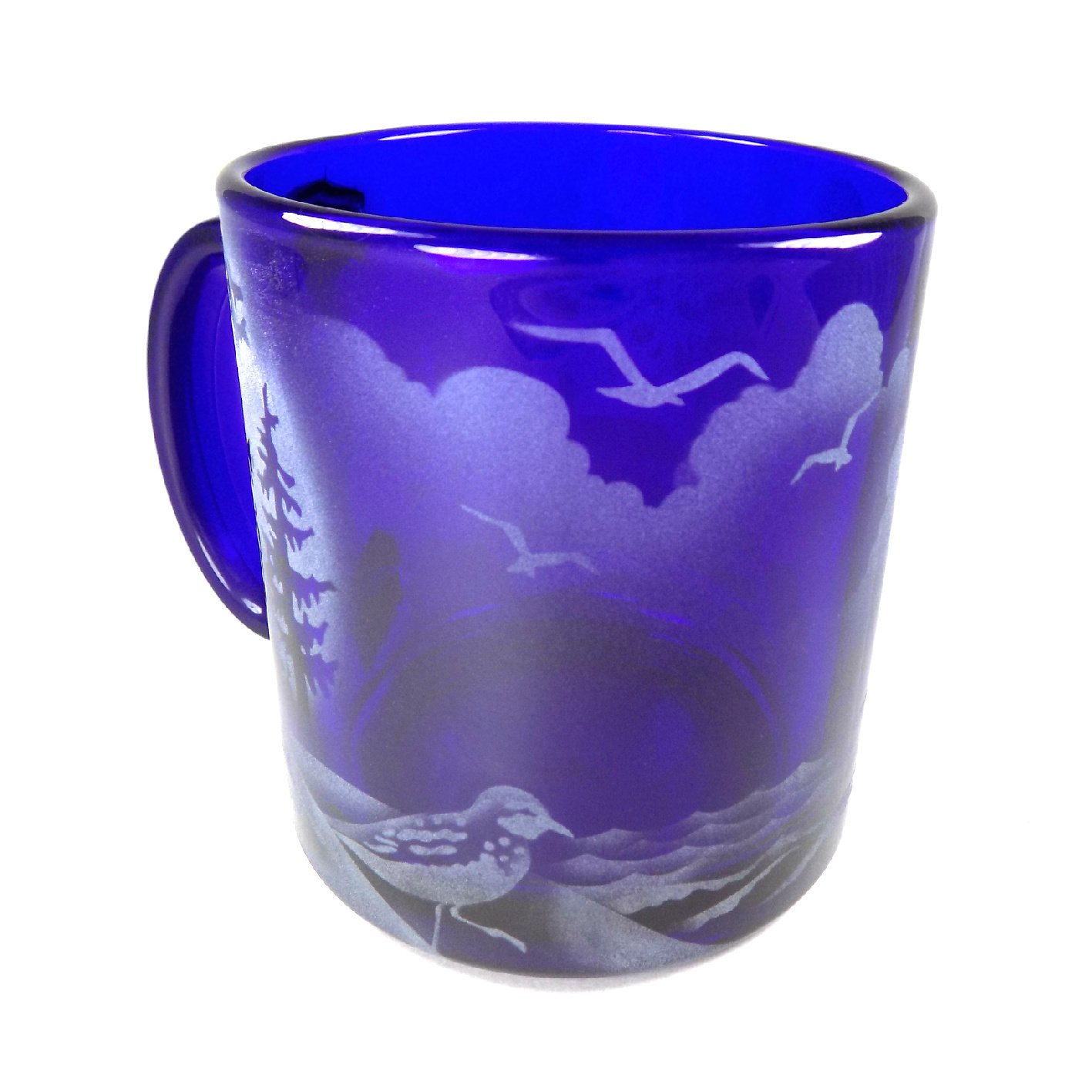 Sand Carved IncisoArt Hand Etched Coffee Mug Sandblasted Glass Handmade Engraved Haceta Head Lighthouse in OR 1, Cobalt Blue Haceta Head Lighthouse in OR