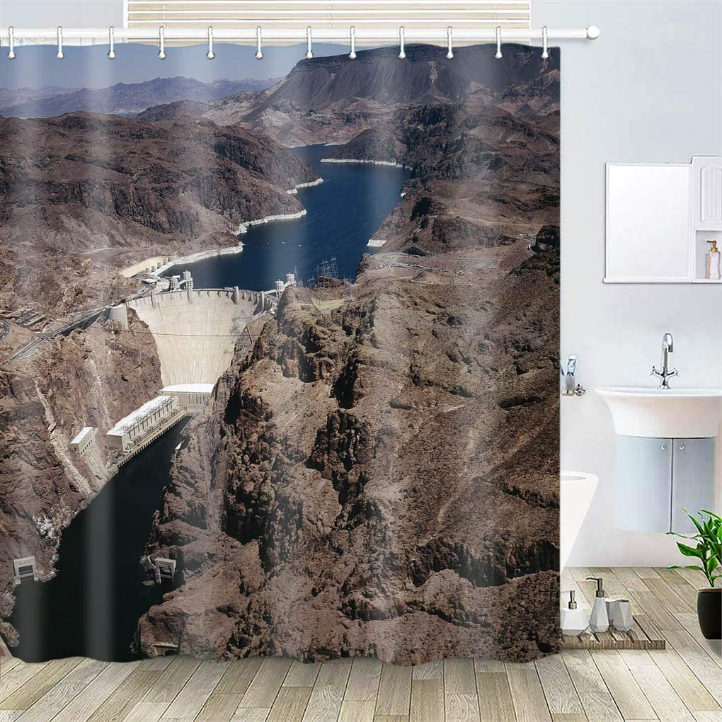 OiArt Shower Curtain, Polyester Fabric Waterproof Hooks Included-72x72 inches- Hoover Dam Lake Mead Colorado River Canyon
