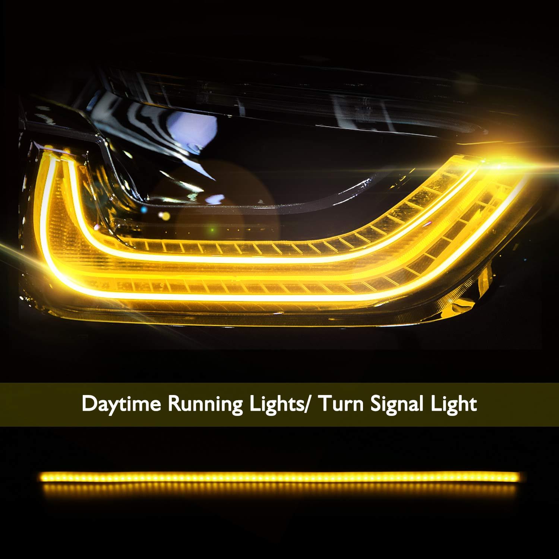 60cm Car Angel Eye Neon Lights White//Yellow Daytime Running Decorative 2 Pieces Azyvigo Turn Signal Lamp Styling DRL Flexible LED Tube Strip