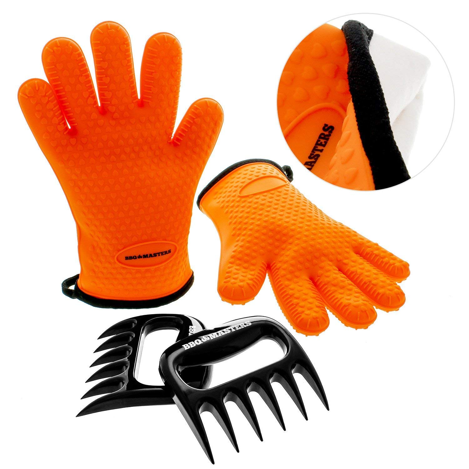 BBQ Master Heat Resistant Silicone Cooking Gloves & Meat Claws Combo Set - Safe Protective Insulated Cloth Lining Kitchen Oven Mitts for Baking, Handling Hot Pots & Pans - Lift, Pull, Shred Pork, Beef