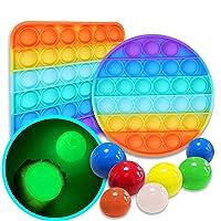 Ma.Lina.Ann Fidget Toys Set, Push pop Bubble Sensory Fidget Toy, Ceiling Sticky Balls Glow in The Dark, Sensory Toys Pack Cheap for Kids Adults (4Pcs Balls & 1Pcs Rainbow Square(A), Small Balls)