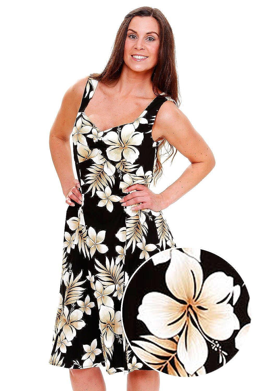 Pacific Legend | Original Hawaiikleid | Damen | S - XXL | Sommer | Hawaii-Print | Blumen | Schwarz