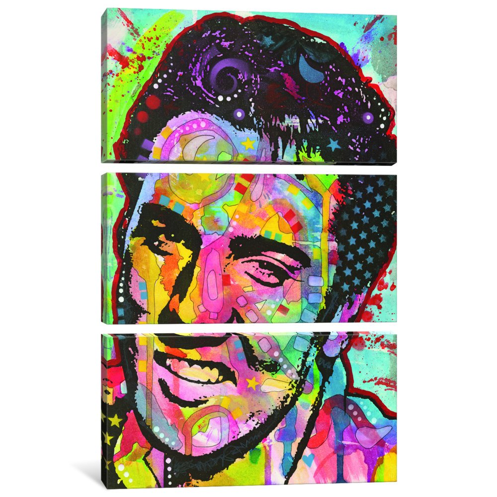 60 by 40//1.5 Deep iCanvasART 3 Piece Elvis Canvas Print by Dean Russo