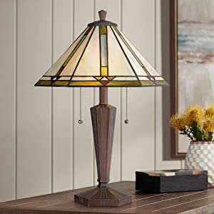 Landford Traditional Mission Tiffany Style Accent Table Lamp Bronze Brown Metal Antique Glass Art Shade Decor for Living Room Bedroom House Bedside Nightstand Home Office Family - Robert Louis Tiffany