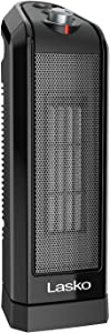 Lasko CT16450 Small Portable 1500W Oscillating Electric Ceramic Space Heater with Manual Thermostat and Overheat Safety Protection for Indoor Home Use, Black