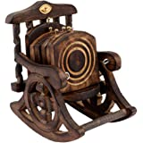 Happie Shopping Wooden Antique Beautiful Miniature Rocking Chair Design Tea Coffee Coaster Set