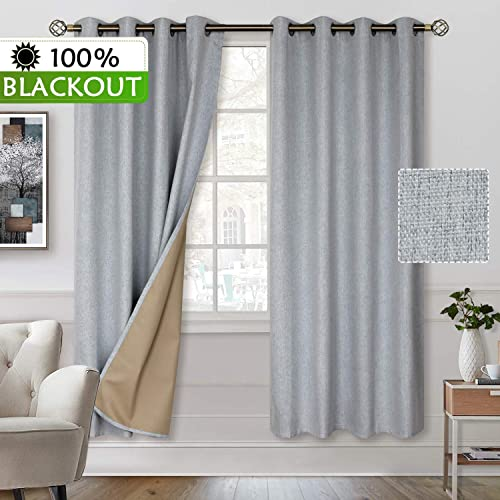 BGment 100 Blackout Curtains with Liner for Bedroom, Grommets Thermal Insulated Textured Linen Lined Curtains for Living Room 52 x 84 Inches, 2 Panels, Grey