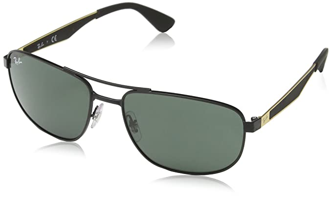 7d33f275313 Ray-Ban METAL MAN SUNGLASS - MATTE BLACK Frame DARK GREEN Lenses 58mm Non-
