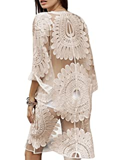 a26edf78da5 shermie Women's Floral Crochet Lace Beach Swimsuit Cover Ups Long Vintage  Kimono Cardigan Dress