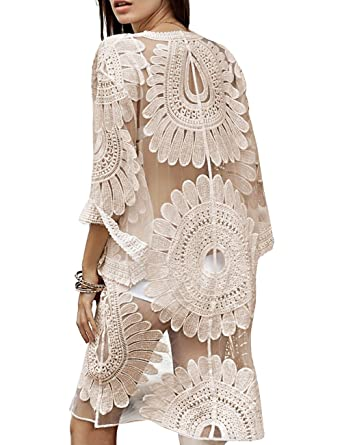 df939b5aae shermie Women's Floral Crochet Lace Beach Swimsuit Cover Ups Long Vintage  Kimono Cardigan (Beige)